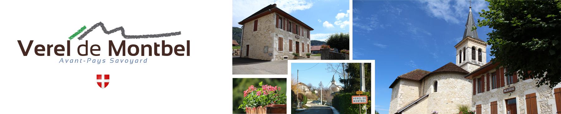 En-tête : Verel-de-Montbel, le village, l'église, la mairie